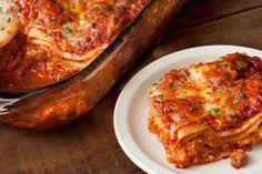 This turkey sausage lasagna recipe is layered with tomato sauce, ricotta, and mozzarella.