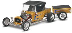Revell-Monogram Model Cars 1/24 Ford T Street Rod w/Pull-Along Trailer Kit
