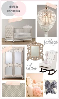 Vintage glam gray nursery | Here is what has inspired me so far.