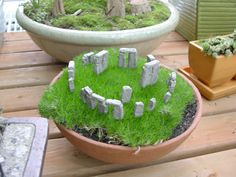 Small Miniature Stonehenge Garden- This is from Two Green Thumbs, a website that specializes in miniature gardens but it would be fairly simple to do yourself. :)