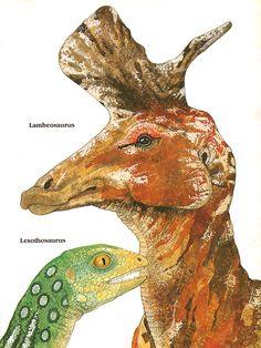 Lambeosaurus & Lesothosaurus by Tessa Hamilton via Anatotitan, on Flickr. #vintage #paleoart