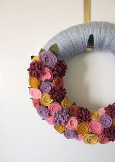 Spring Flower Wreath Yarn and Felt Wreath by TheBakersDaughter, $40.00