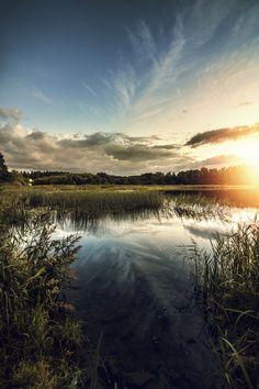 Sundown at Motala Ström, Sweden