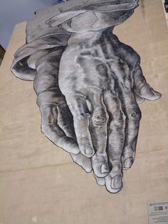 Praying Hands street art around Athens, Greece