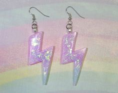 Holographic Shooting Star Earrings Fairy Kei by StarlightSparkles