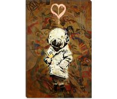 Space Girl and Bird Mural Canvas Print #2030B