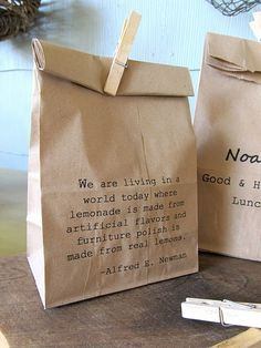 ::print quotes on paper bags::