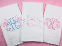 Baby Girl Monogrammed Burp Cloths, Embroidered Burp Cloth Gift Set, Baby Gift Source by etsy sets clothes Burp Cloth Diapers, Baby Burp Cloths, Burp Cloth Set, Burp Rags, Baby Gift Sets, Baby Gifts, Cool Baby Girl Names, Baby Monogram, Free Monogram