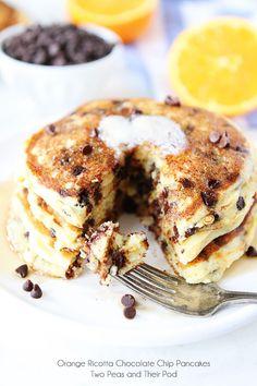 Orange Ricotta Chocolate Chip Pancake Recipe on twopeasandtheirpod.com The perfect pancakes!