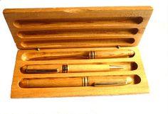 Pen set in wood case Set of wood pens Wooden Box by GrandmasDowry, $44.99