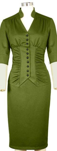 Love the ruching! 1940s Fashion, Vintage Fashion, Couture Dresses, Fashion Dresses, 40s Dress, Techniques Couture, Looks Plus Size, 20th Century Fashion, Haute Couture Fashion