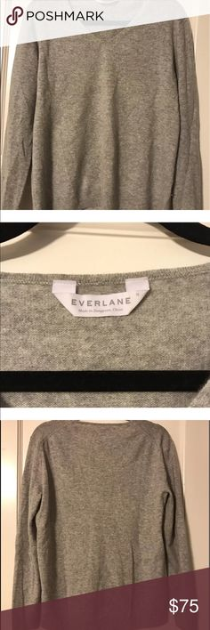 Everlane gray cashmere V Neck Everlane 100% cashmere sweater   Size M  Worn very few times   Please note that sometimes my lighting can make the color appear a bit more yellow. All photos of the garments/items being sold are taken by me with the exception of the original/celebrity photos, used only to show the item in its truest color.  All items I sell are 100% authentic pieces.  Please message with any questions and check out my other items! Happy shopping! Everlane Sweaters V-Necks