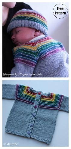 This Rainbow Cardigan Free Knitting Pattern is a great project for a beginner knitter who wants to improve their technique knowledge. Knitting For Kids, Crochet For Kids, Free Knitting, Knit Or Crochet, Baby Knitting Patterns Free Cardigan, Kids Knitting Patterns, Knitting Designs, Knitting Projects, Rainbow Cardigan
