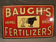 Antique Baughs Fertilizers General Store Advertising Cattle Cow Farm Tin Sign | eBay ~ SSAOBX.COM