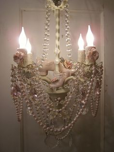 pink posh shabby chic crystal chandelier embellished to perfection via etsy - Shabby Chic Chandelier