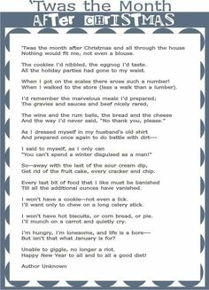 Lesson Plans for First and Second Grade The month after Christmas poem.The month after Christmas poem. Funny Christmas Poems, Christmas Quotes, Christmas Humor, Christmas Crafts, Christmas Readings, Christmas Fitness, Christmas Lyrics, Christmas Ideas, Christmas Sentiments