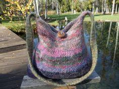 11-101 handknit felted wool purse tote handbag f.s.