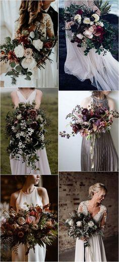 moody wedding bouquets for fall #weddingideas #weddingflowers #weddingbouquet #weddingbouquets