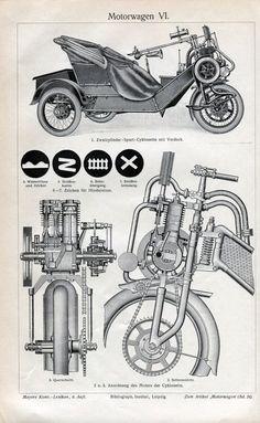 Motor Wagon Cycle Car Engraving Print – Circa 1909