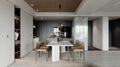 Modern Concept 01 | Apartment | 2019 - Dezign Ark (Beta) Minimalist Home Interior, Minimalist Living, Dining Room Design, Kitchen Design, Made To Measure Furniture, Black Kitchen Island, Apartment Projects, Apartment Design, Modern Bedroom