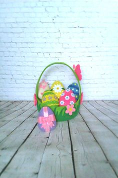Easter Eggs Ornaments Spring Decor Set 6 Pieces Easter Basket Decorative Felt Cute Eggs Easter Gift For Kids Handmade Holiday Decorations by BelkaUA on Etsy