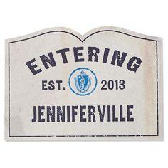 Personalized Entering Your Town Doormat: Eliseville? Edwardston? Eliseburg? Lise City?  :)