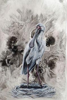 Bird Life Paintings by Liffey Joy - Spoonbill Figurative Art, Online Art Gallery, Paper Art, African, Joy, Bird, Abstract, Artist, Paintings