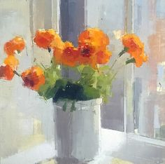 Lisa Breslow, Orange Flowers 2013, Oil and pencil on panel