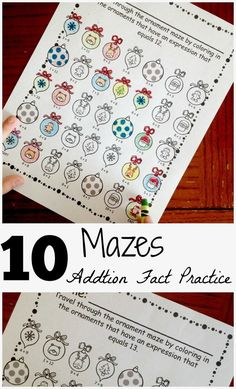 10 mazes for to work on addition facts with sums 10 - 20.