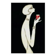 Vintage Art Deco ~ Villemot for Campari 1977 Poster.  Striking black and white image of a woman delicately displaying a glass of Compari liquer in her elegant hand - an infusion of red with herbs and fruit in alcohol and water. The original art ad was created by Bernard Villemot for Compari, c. 1977.