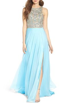 Mac Duggal Embellished A-Line Chiffon Gown available at #Nordstrom