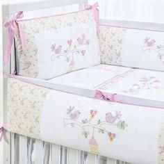 Kit berço 8 peças Infantile Passarinho Floral Rebeca 100% algodão 200 fios
