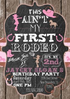Cowboy birthday invitation this aint my first rodeo girls cowgirl cowgirl birthday invitation personalized this aint my first rodeo girls cowgirl birthday invitation filmwisefo Images