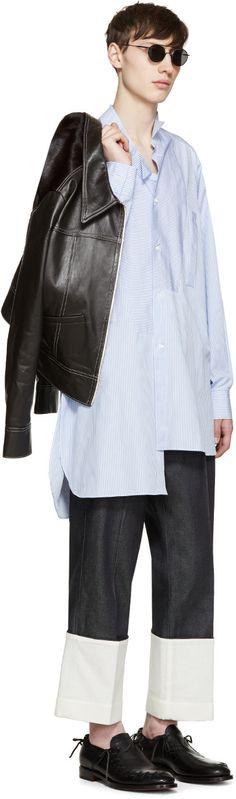 Loewe - ブルー & ホワイト ストライプの アシメトリック シャツ
