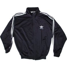 Vintage Adidas Black Track Suit Jacket MediumTrefoil 90s ($35) ❤ liked on Polyvore featuring outerwear, jackets, tops, adidas, black collared jacket, vintage jacket, black jacket and adidas jacket
