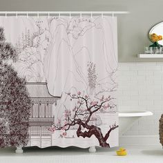 """Fairy Mountain Forest at River And Sun Bathroom Fabric Shower Curtain Set 71/"""""""