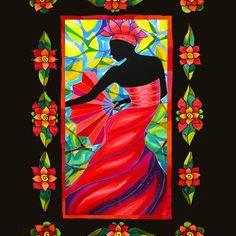 Red Dress Fan Dancer with Mestizo Border Belize