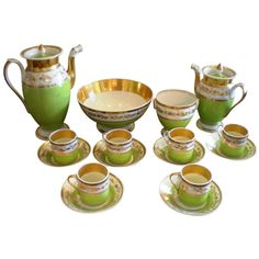 France late 18th early 19th Century  Set of porcelain de Paris coffee & tea service - eighteen (18) pieces. Made famous during the Napoleon Period 1795 - 1830. Beautiful.