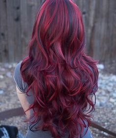 Lucy // Fiery Red Long Wavy Wig with Lowlights Synthetic Hair