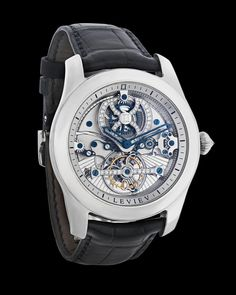 Tourbillon Platinum Wristwatch~ This exceptionally rare luxury wristwatch by Leviev contains a tourbillon movement, one of the most complex and highly coveted mechanical movements to be found. Invented in 1795 by the famed watchmaker Abraham-Louis Breguet, the tourbillon was specially designed in order to combat the effects of gravity on the balance spring of a mechanical movement. ~M.S. Rau Antique Clocks, Watch Sale, Quality Time, Inventions, Luxury, Accessories, Spring, Vintage Watches, Old Clocks