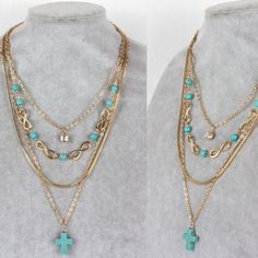 Women's Layered Charm Necklace With Turquoise Ston A quartet of gorgeous gold plated layered necklace chains with polished turquoise cross, beaded stones, infinities and shining crystal, making a bold statement for any occasion. Length: Approx. 16 inches. Great accessory and a unique gift.                                                                    Add to Cart  Jewelry Necklaces