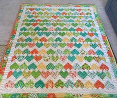 Gorgeous quilt by Vickie. Love the border she added, and the scrappy binding. Plus it's all hand quilted! Made from my ZigZag Love pattern on Etsy: https://www.etsy.com/au/listing/222195907/zigzag-heart-diamond-quilt-pattern-pdf