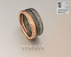Titanium and rose gold hammered stacked rings. Sterling Silver Hoops, Silver Hoop Earrings, Unique Roses, Rustic Jewelry, Titanium Rings, Stacked Rings, Eternity Bands, Wedding Bands, Rose Gold
