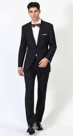 2 Button Notch Modern Shadow Stripe-Black Men's Suit $498.00