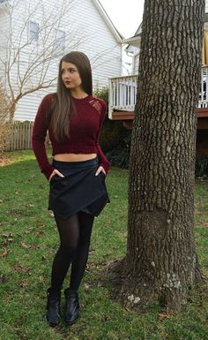 Winter burgundy crop top
