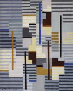 thunderstruck9: Adolf Fleischmann (German, 1892-1968), Composition 45. Oil on canvas, 51 x 41 cm.
