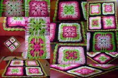 Almofada formada por quatro squares em croche