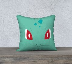 """Pokemon+Throw+Pillow+Cases+-+Bulbasaur+pillow+case+printed+on+size+18""""x18""""+throw+pillows  Our+pillow+cases+are+available+in+velveteen,+a+fabric+soft+to+touch+but+also+durable.+The+pillows+have+a+YKK+zipper+closure,+and+can+withstand+heavy+use.+Ships+as+pillow+case+only.  All+of+our+pillows+ar..."""