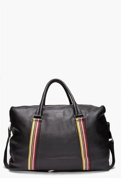 """PAUL SMITH Black Large Carry All Bag Pebbled leather carry all bag in black. Double rolled leather carry handles. Adjustable canvas shoulder strap. Two multicolored vertical stripes, signature logo and patch pocket at sides. Exposed zip main compartment closure. Twill-lined interior with zip and press stud pockets. Approx. 20"""" length, 13"""" height and 9'' depth. 100% leather. Imported."""