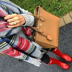 IG @mrscasual <click through to shop this look> gray plaid blanket scarf. Gray sweater. Black skinny jeans. Red Hunter boots. Tory burch square Robinson tote